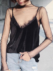 Black High Neck Long Sleeve Sheer Mesh Blouse