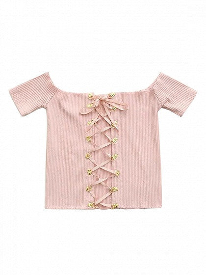 Pink Off Shoulder Lace Up Front Ribbed Crop Top