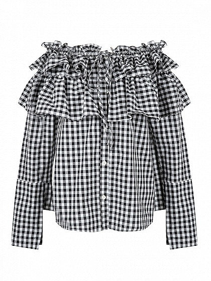 Monochrome Gingham Check Off The Shoulder Layered Ruffle Top