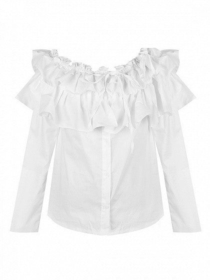 White Off The Shoulder Layered Ruffle Top