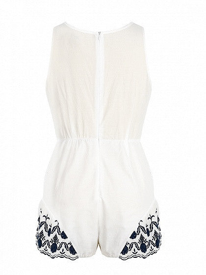 White Plunge Tie Front Embroidery Romper Playsuit