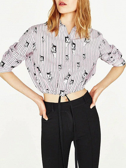 Pink Stripe Cat Print Long Sleeve Cropped Shirt