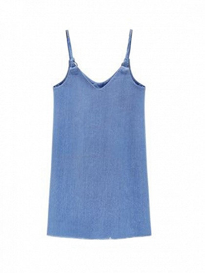 Blue Becket Shoulder Strap Denim Slip Dress