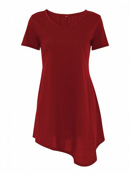 Red Asymmetric Hem Short Sleeve Tee Dress