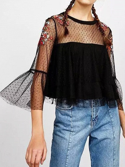 Black Embroidery Sheer Mesh Layered Flared Sleeve Blouse Top