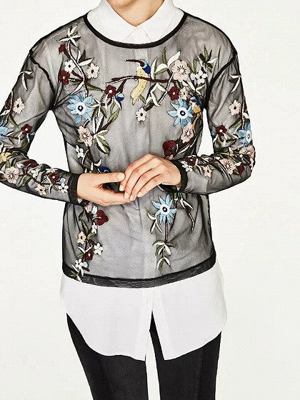Black Crew Neck Long Sleeve Embroidered Floral Sheer Mesh Top
