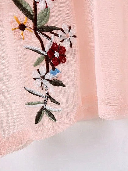 Pink Round Neck Long Sleeve Embroidered Floral Sheer Mesh Top