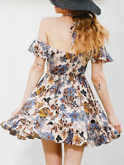 Multicolor Floral Print V-neck Halter Cold Shoulder Ruffle Mini Skater Dress
