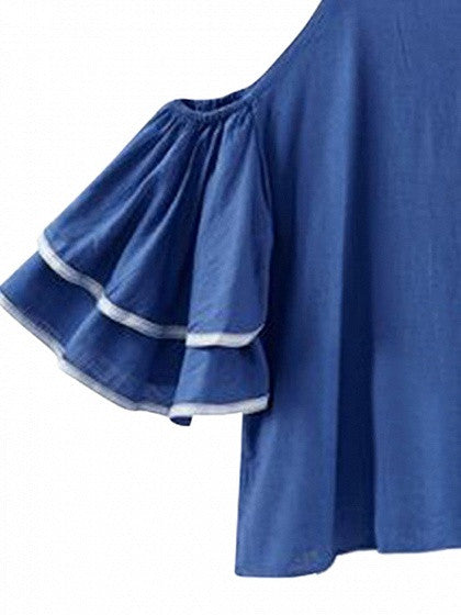 Blue Cold Shoulder Spaghetti Strap Ruffle Sleeve Blouse