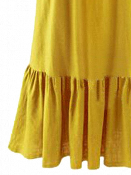 Yellow Off Shoulder Stretch Shirred Panel Ruffle Maxi Dress