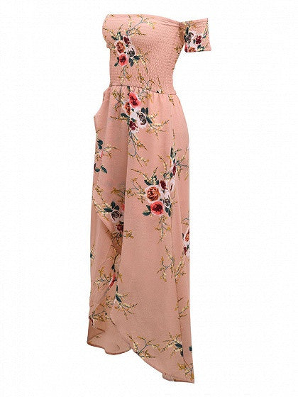 Pink Floral Print Short Sleeve Stretch Off Shoulder Split Front Tulip Maxi Dress