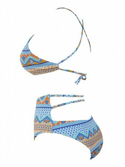 Multicolor Halter Tribal Printed Bikini Top And High Waist Bottom