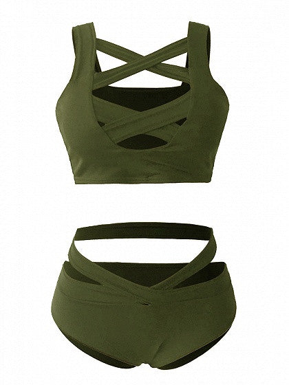 Army Green Cut Out Caged Strap Cross Bikini Top And Bottom