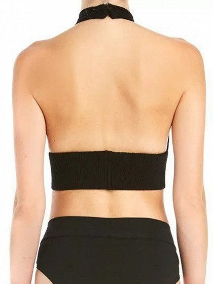 Black Halter Cut Out Backless Ribbed Crop Top