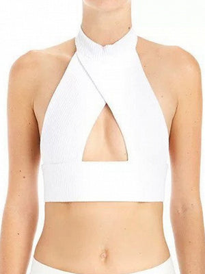 White Halter Cut Out Backless Ribbed Crop Top