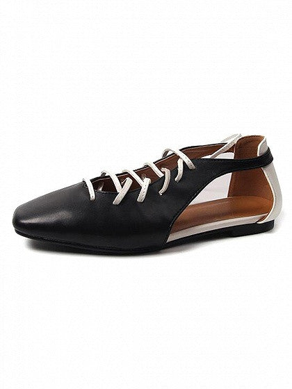 Black Square Toe Lace Up Contrast Cut Out Flat Shoes