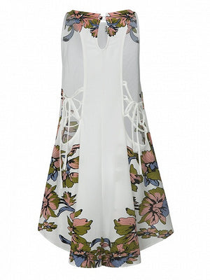 White Floral Print Lace Up Side Dipped Hem Mini Swing Dress
