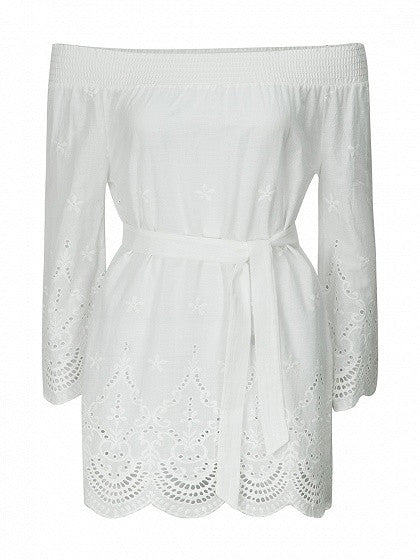 White Stretch Off Shoulder Flared Sleeve Tied Waist Scalloped Hem Mini Dress