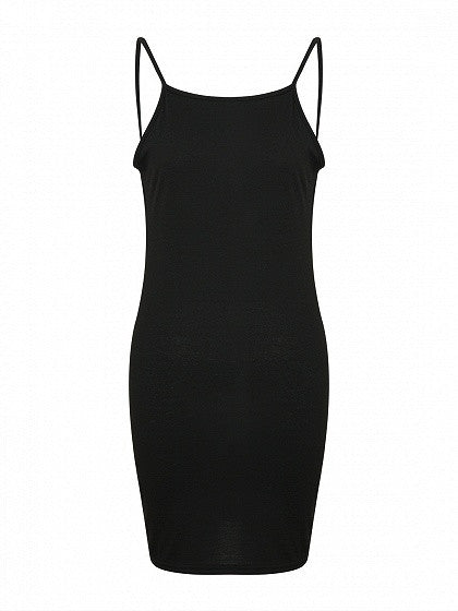 Black Backless Spaghetti Strap Bodycon Mini Dress