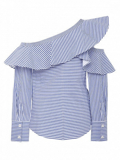 Blue Off Shoulder Stripe Cold Shoulder Ruffle Trim Long Sleeve Shirt
