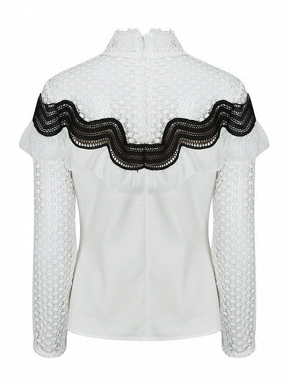 White High Neck Long Sleeve Contrast Ruffle Cut Out Sheer Lace Blouse