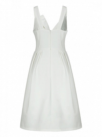 White Twist Bow Front Tank Skater Prom Dress