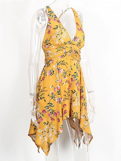 Yellow V-neck Sleeveless Ruched Waist Floral Printed Backless Asymmetric Hem Romper Playsuit