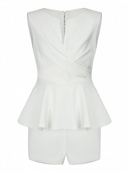 White Notch Neckline Peplum Sleeveless Romper Playsuit