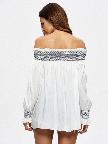 White Stretch Off Shoulder Embroidery Long Sleeve Blouse Top