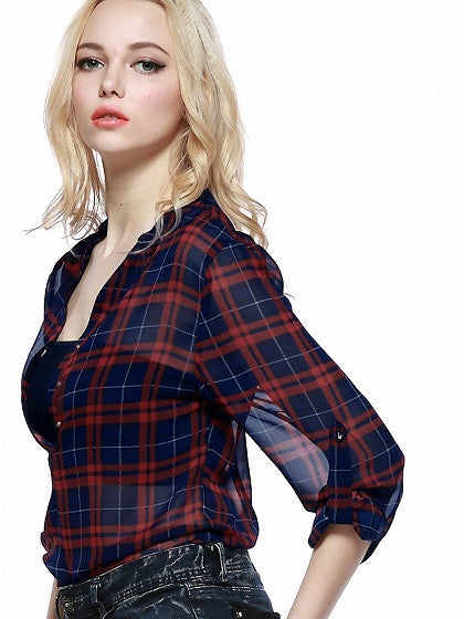 Red and Blue Check Plaid Semi Sheer Chiffon Blouse