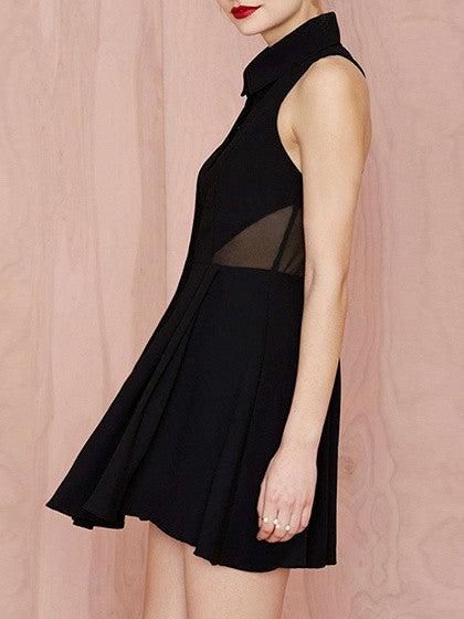 Black Shirt Collar Sleeveless Mesh Insert Strappy Back Skater Dress