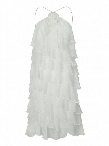 White Spaghetti Strap Layered Ruffle Cross Strap Back Dress