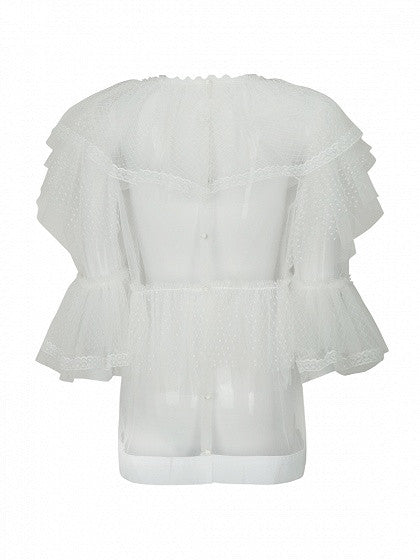 White 3/4 Sleeve Layered Ruffle Tie Front Structured Mesh Top