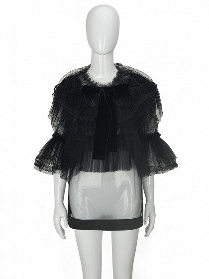 Black 3/4 Sleeve Layered Ruffle Tie Front Structured Mesh Top