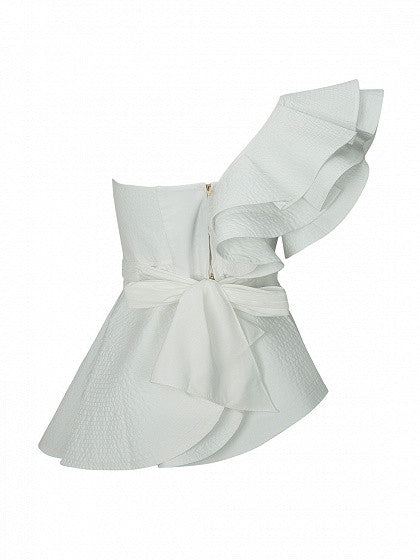 White One Shoulder Knot Front Cut Out Ruffle Tie Waist Peplum Blouse