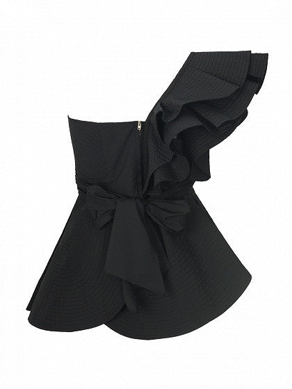 Black Knot Front Cut Out Ruffle Tie Waist Peplum Blouse