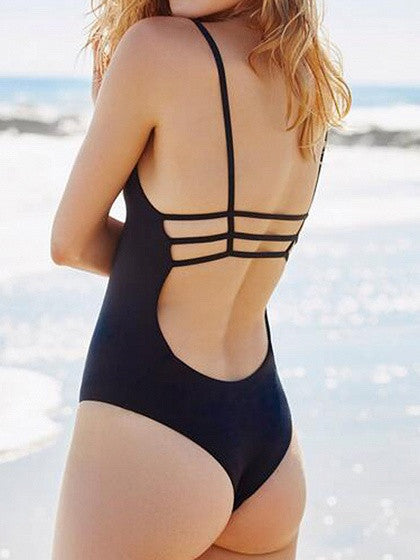 Black Cut Out Strappy Backless One-piece Swimsuit