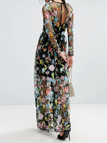 Black Embroidery Floral Long Sleeve Sheer Mesh Maxi Dress