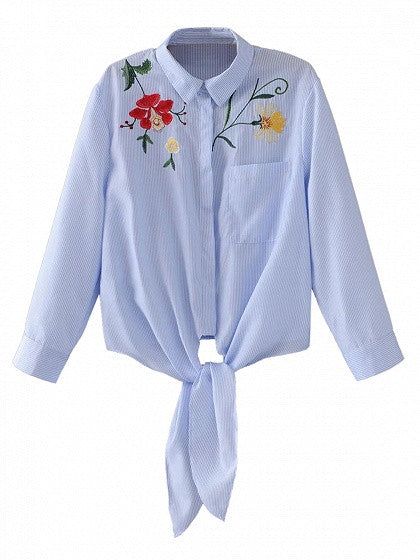 Blue Stripe Floral Embroidery Tie Front Long Sleeve Shirt