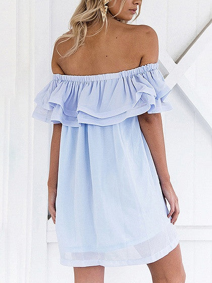 Blue Off Shoulder Double Layer Ruffle Chiffon Mini Dress