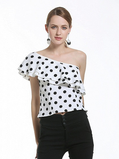 White Polka Dot One Shouder Ruffle Top