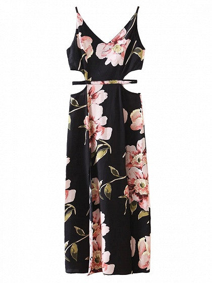 Black Floral Printed Deep V-neck Sleeveless Cut Out Side Split Dress