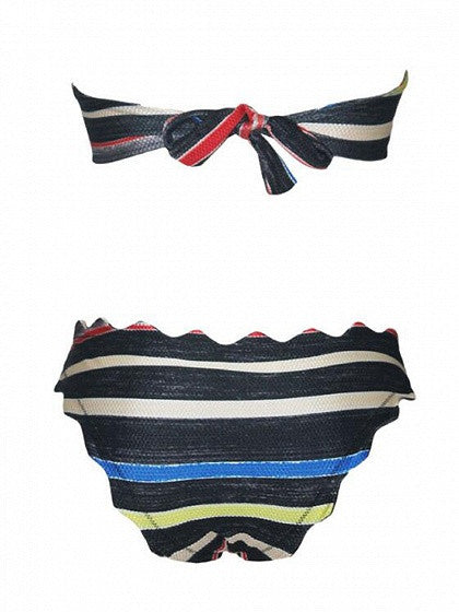Multicolor Stripe Padded Scalloped Hem Detachable Strap Bikini Top And Bottom