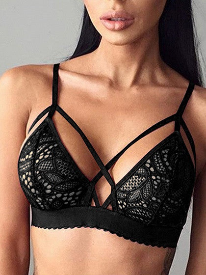 Black Strap Cross Lace Bralet