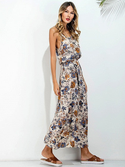Multicolor Floral Printed Cut Out Back Spaghetti Strap Maxi Dress