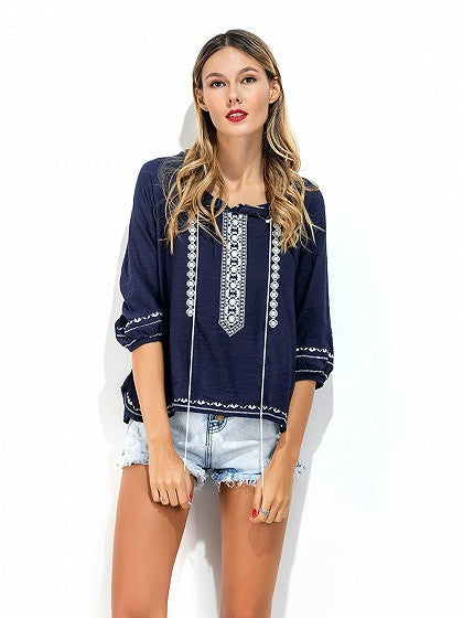 Blue Embroidery Detail Tie Front Side Split 3/4 Sleeve Blouse With Drawstring