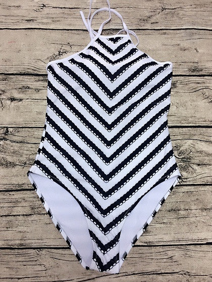 Monochrome Chevron Printed Cut Out Back One-piece Swimsuit