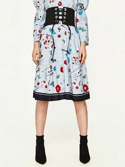 Floral High Waist Button Up Midi Skirt