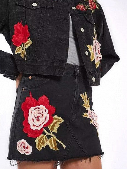 Black High Waist Embroidery Floral Raw Hem Denim Mini Skirt