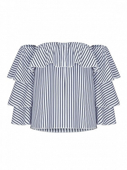 Blue Stripe Off Shoulder Ruffle Flared Sleeve Blouse
